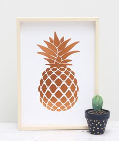 Cloud Nine Creative - Pineapple Foil Print Gold & Copper - A4