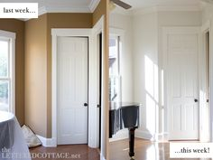Love this color!   Benjamin Moore - Cloud 9  Interior/Latex/Eggshell  Easy Care Platinum  Sunroom Makeover – Step Two: Wall Color   The Lettered Cottage