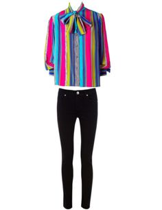 Colorful blouse and black pants