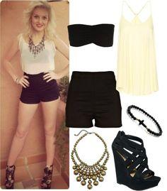 Conjunto! *blusa, short negro a la cintura, collar, zapatos negros