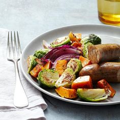 Roasted Autumn Vegetables & Chicken Sausage for Two