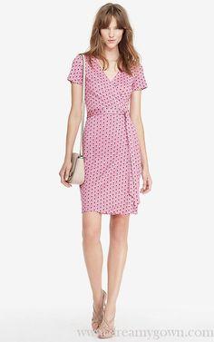 DVF New Julian Short Sleeve Silk Jersey Print Wrap Dress