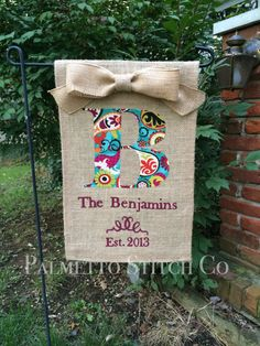 Personalized Burlap Garden Flag Monogram with by palmettostitchco, $32.00