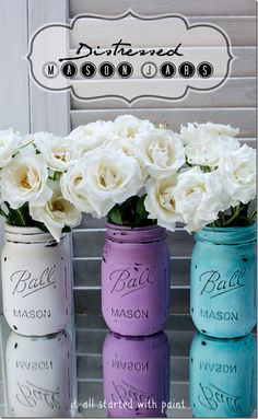 DIY - Distressed Mason Jars using Acrylic Paint, a Nail File and sprayed with a coating of Water-Resistant, Scratch-Resistant Matte Enamel Protective Coat