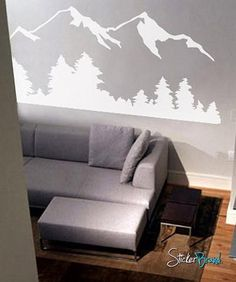 Vinyl Wall Decal Sticker Snow Mountain View w/ Trees Mountain Bedroom, Mountain Mural, Snow Mountain, Mountain View, Wall Decal Sticker, Wall Vinyl, Bedroom Wall, Gray Bedroom, Textured Walls
