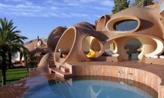"Pierre Cardin's ""Bubble House"".  Originally designed by Antti Lovag.  Cannes."