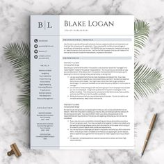 Professional Resume Template for Word & by LandedDesignStudio