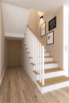 schody Staircase Railing Design, House Staircase, Stair Walls, Wood Stairs, Stairway Lighting, Open Stairs, Stair Decor, Foyer Decorating, Home Fashion