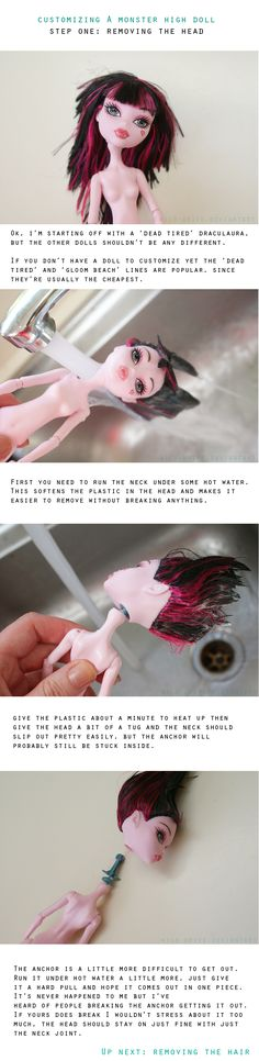 How To: Remove Monster High Doll Head #tutorial #howto #monsterhigh #doll #craft