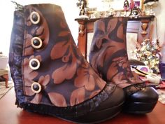 Hand stitched spats to cover wedged boots  Handmade by Sheila Atkinson 2014