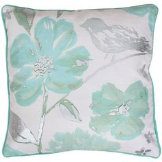 Thro by Marlo Lorenz Alisha Floral Throw Pillow ($38) ❤ liked on Polyvore featuring home, home decor, throw pillows, pillows, blue, blue accent pillows, flowered throw pillows, blue toss pillows, colored throw pillows and blue home accessories