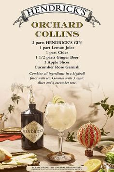The crispness of autumn is in the air and in our glasses. Try the delectable Orchard Collins, a sprightly fall frolic of apples, ginger, citrus and the world's most distinctive gin. A delightful drink befitting harvest balls, leaf peeping parties, bonfires, and hayrides!