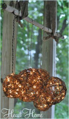Vine or wicker woven balls - great idea for lighting!