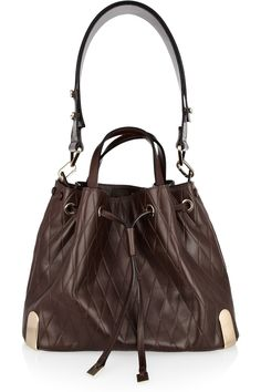 Chloé - Charlie Medium Bucket Bag, diamond pattern-embossed, 100% calf leather, in coffee, €1800 (available for USD2,595, here: http://www.barneys.com/Chlo%C3%A9-Charlie-Medium-Bucket-Bag/00505019501239,default,pd.html#)