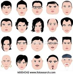 Man face shape hairstyle round fat View Large Illustration