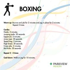 A full week of workouts inspired by Rio - Try this free #boxing workout with warm up, cardio kicks and punches and a cool down | via @ParkviewHealth