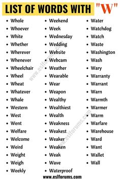 Words that Start with W | List of 140+ Words Starting with W