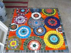 Glass On Glass Table - by, Bobbie's Amazing Mosaics