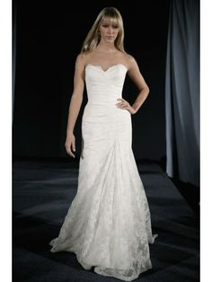Embroidered Lace Strapless Pleated Bodice Wedding Dress