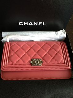 Pink Chanel WOC Wallet on Chain Leather Le Boy Messenger Classic Flap Bag  2012   eBay 222982bb29