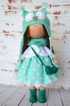 Owl doll Interior doll Rag doll Art doll Handmade doll Green