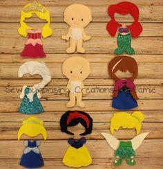 New Felt Princess Non Paper Dolls SISTER by SewSurprisingbyJamie