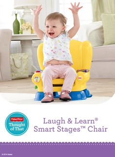 The Fisher-Price Laugh & Learn® Smart Stages™ Chair features three levels of content to encourage development and learning as your baby grows. Songs, phrases, an illustrated flipbook, and a light-up remote keep playtime fun.