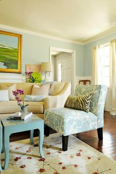 French country cottage living room. Very beautiful. Love the blues and red.  Love the area rug.