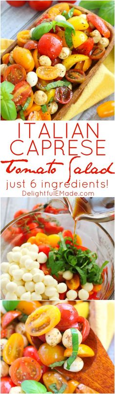 With just 6 ingredients, this simple tomato salad recipe will be your new go-to summer side!  Made with fresh cherry tomatoes, mozzarella, basil and a 3 ingredient balsamic vinaigrette, this caprese salad takes just minutes to make and tastes incredible!