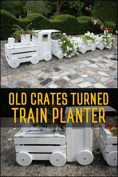 Transform Old Crates into a Train Planter