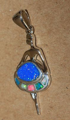 fire opal necklace pendant gemstone silver jewelry elegant Ballerina design P #Pendant