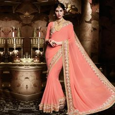 Buy Pink Heavy Border Work Designer Saree for womens online India, Best Prices, Reviews - Peachmode