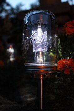 Solar Powered Mason Jar Lights - Eco Friendly Mason Jar Outdoor Path Light- Single Stainless Steel Accent - UpCycled BootsNGus Lamp Design. $15.00, via Etsy.