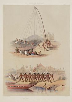 George French Angas (Artist), J W Giles (Lithographer) - I. War Dance Before the Pah of Oinemutu near Roturua Lake. Abstract Sculpture, Sculpture Art, Metal Sculptures, Bronze Sculpture, Home History, Family History, Auckland Art Gallery, Polynesian People, New Zealand Art
