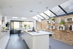 Modern And Sleek Wrap-around Extension in Lacon Road Kitchen Extension Glass Roof, Kitchen Diner Extension, Glass Extension, Glass Kitchen, House Extension Plans, House Extension Design, Extension Ideas, Side Extension, Extension Designs