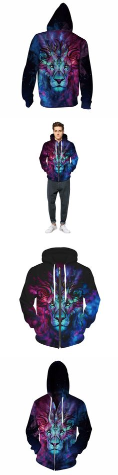 The King of lion Zip-Up Hoody 3D Mixcolor Print Hooded Sweatshirt Men Spring/Fall Hip Hop Zipper Hoodies Outerwear Tracksuits