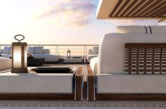 It has been unveiled at the annual Monaco Yacht Show Luxury Yacht Interior, Luxury Yachts, Catamaran, Luxury Rv Living, Modern Furniture, Outdoor Furniture Sets, Monaco Yacht Show, Luxury Homes Dream Houses, Yacht Design