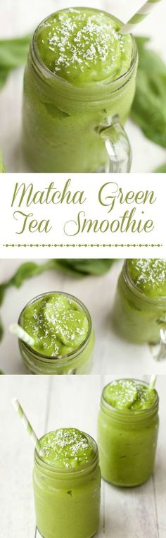 Matcha Green Tea Smoothie, quick and easy 5-Ingredient recipe. Vegan | Smoothies | Matcha | Vegan Recipes | Vegan Food #vegan #matcha #smoothies #drinks
