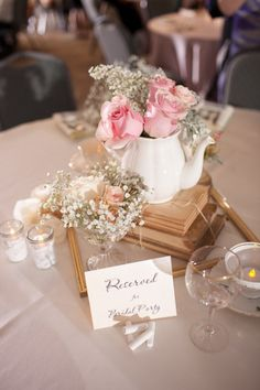 Simple, cute centerpiece for bridal tea party, wedding shower, etc.