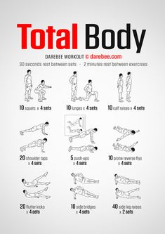 No-Equipment Total Body Workout by DAREBEE darebee workout fitness wod exercise fit strength bodyweight bodyweightworkout # Beginner Gym Workout Routine, Full Body Bodyweight Workout, Home Workout Men, Full Body Workout At Home, Gym Workout Tips, At Home Workout Plan, Workout Fitness, Men Workout Routines, Exercise For Beginners At Home
