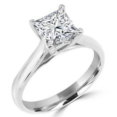 Square Diamond Rings in 14K White Gold 1 1/10 CT Solitaire Princess Cut Cathedral Set Engagement Ring #diamonds #princesscut