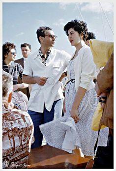 """farsizaban: """" Mohammad Reza Pahlavi and Queen Soraya of Iran at Miami Beach (Circa 1955) """""""