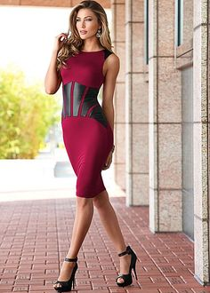 Fall head over heels with this hot look. Venus faux leather detailed dress. #styleaffair