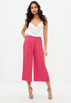 Pink Pleated High Waist Culottes