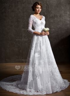 A-Line/Princess V-neck Court Train Satin Tulle Wedding Dress With Lace Beading Sequins (002004758) - JJsHouse