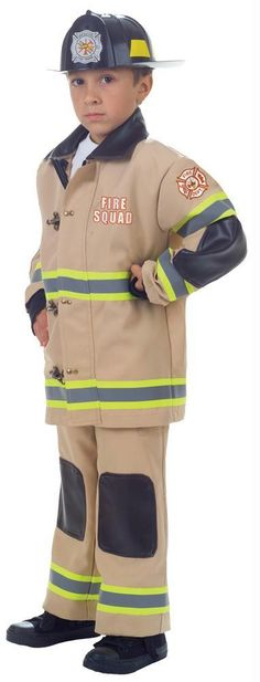 Now Your Kids Can Dress Up Like A Real Firefighter With This Authentic-Looking Firefighter Costume. This Child Firefighter Costume Features A Detailed Tan Jacket With Matching Pants And Plastic Helmet. Great Costume For Halloween, Theatrical Productions O