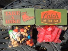 """Camp theme treat bag toppers with bags. You choose """"Catch of the day"""", """"Take a hike"""" or both. Camping party favors. Favor bags. by ArtofEntertaining on Etsy https://www.etsy.com/listing/183603308/camp-theme-treat-bag-toppers-with-bags"""