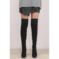 Tobi Kimber Over The Knee Boots ($48) ❤ liked on Polyvore featuring shoes, boots, black, over-the-knee lace-up boots, black over-the-knee boots, lace up thigh boots, chunky heel boots and above the knee boots