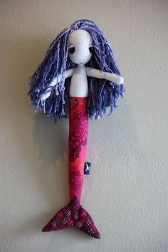 #mermaid #doll purple bamboo hair and pink #shweshwe tail by #LunateAndTheMermaid