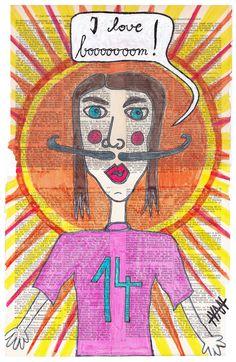 """I love boooooooom"" Art Brut / Outsider Art from german artist Ivan Summersky (www.ivansummersky.com) - painted for www.booooooom.com"